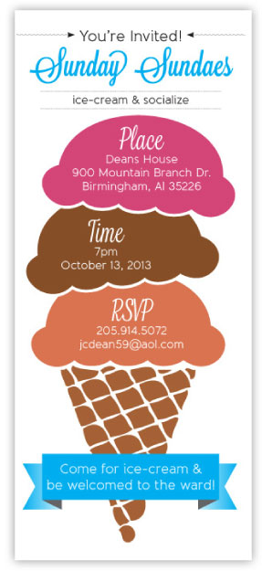 create a friendly invitation that can be easily distributed concept since the event was for ice cream the scoops of ice cream